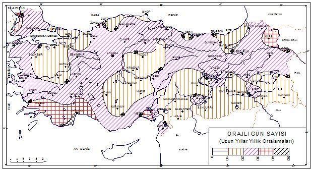 Türkiye orajlı gün haritası