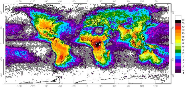 Global yıldırım haritası. Türkiye riskli bölgede bulunmakta
